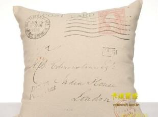 新品抱枕 可立特 田园乡村靠垫 棉麻帆布枕套 美式复古风格靠枕,靠垫,