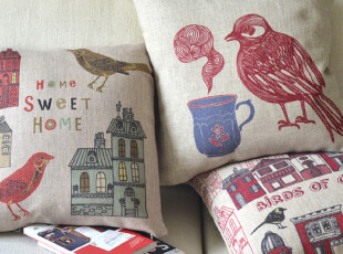 外贸宜家 小鸟系列 甜美的家 乡村田园美式棉麻沙发靠垫抱枕靠枕,靠垫,