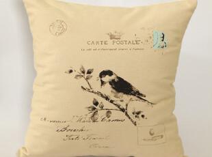 热销美式乡村风格抱枕 靠枕 棉麻靠垫 翠鸟 不含芯,靠垫,