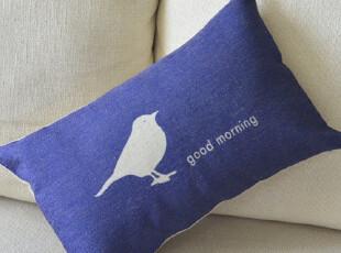 外贸宜家北欧怀旧乡村 小鸟早上好腰枕 棉麻沙发抱枕车用靠垫靠枕,靠垫,
