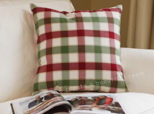 美式乡村田园风格 红绿色格子色织面料 抱枕/靠垫/坐垫/抱枕套,靠垫,
