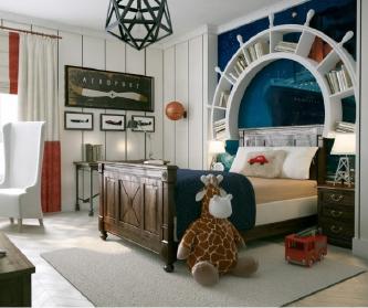 绅士风格的男孩房间