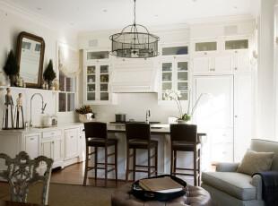 黑白配厨房,厨房,吧台,灯具,白色,黑色,