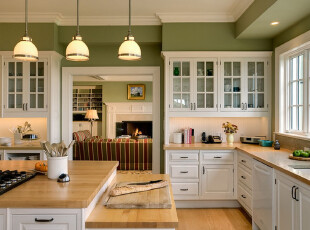 一天30%的时间都奉献给了厨房,再不养眼怎对得起自己!既然如此,何必委屈自己迁就呢,大胆地将你的想法付诸于实吧!,简约,厨房,绿色,原木色,