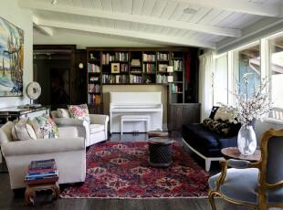 ,客厅,地台,欧式,田园,白色,红色,