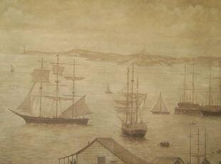 格雷西式的设计中有很多类似的作品。我很喜欢这幅薄雾中的水港,看起来朦胧而又恬静。,传统格调,客厅,