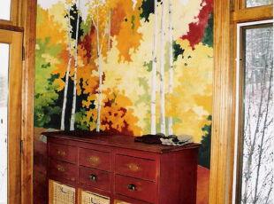 这张壁纸就像是现代版的帝家麓的作品,色调稍显明亮和肆意。如果你是DIY的高手,那么就尝试从传统的壁纸中获得启发并自己动手创作一幅属于自己的独特设计吧~,折中主义,客厅,