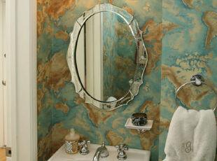 图中的水域地图式的壁画对于盥洗间来说是一个绝妙的选择哦~,传统格调,浴室,
