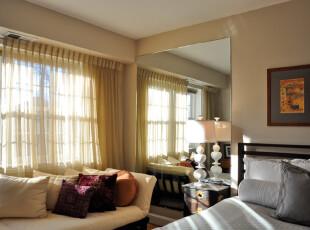 ,卧室,窗帘,黄色,现代,