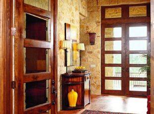 土黄色的玄关,加上原木色通透玻璃的大门,让整个玄关明亮起来,中式,黄色,原木色,玄关,