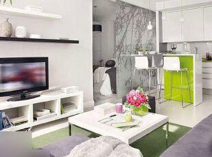 在这个寸土寸金的时代,想要每一寸面积都利用极致,可巧用客厅隔断设计,将客厅区域共享于其它的功能区,打造一室多用魅力空间。 ,客厅,现代,小资,绿色,