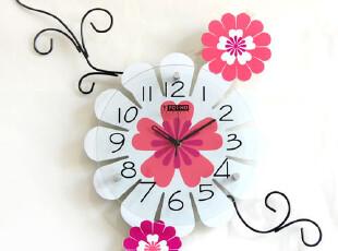 最美时光之创意时钟,墙面,田园,简约,红色,白色,