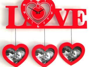 最美时光之创意时钟,墙面,现代,简约,红色,