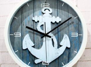 最美时光之创意时钟,墙面,地中海,蓝色,白色,
