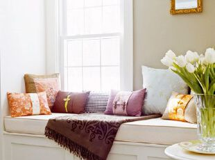 小户型飘窗添情趣 最是惬意好时光,飘窗,田园,小资,紫色,白色,