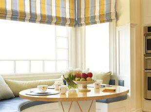 小户型飘窗添情趣 最是惬意好时光,飘台,餐厅,窗帘,简约,黄色,蓝色,