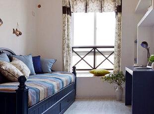 小户型飘窗添情趣 最是惬意好时光,飘窗,窗帘,地中海,蓝色,白色,