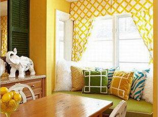 小户型飘窗添情趣 最是惬意好时光,飘窗,窗帘,田园,小资,黄色,