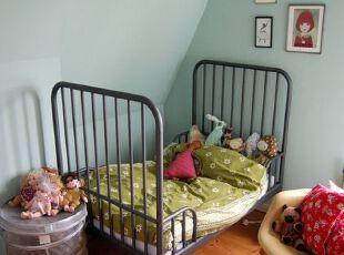 小公主的梦幻世界,儿童房,阁楼,简约,田园,原木色,绿色,蓝色,