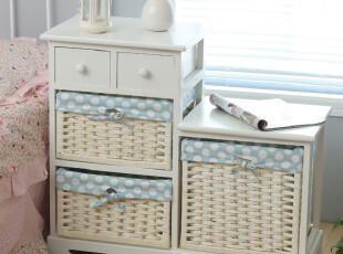 藤制小收纳盒取代常见的木制柜子,十分有田园样式。,欧式,收纳,白色,