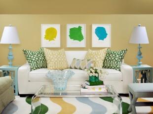 ,客厅,田园,黄色,绿色,