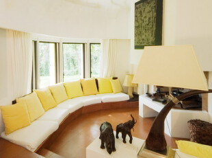 ,客厅,欧式,黄色,白色,