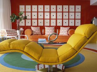 ,客厅,欧式,黄色,红色,