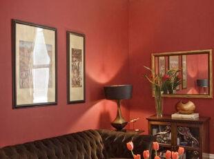 ,客厅,墙面,新古典,红色,原木色,