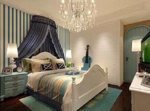 这样的卧室能梦见蔚蓝大海么,卧室,地台,地中海,蓝色,白色,原木色,