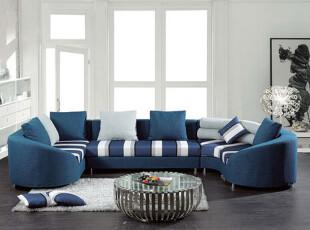 ,客厅,地台,宜家,地中海,蓝色,白色,