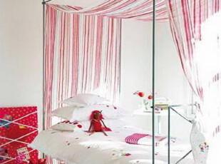 ,卧室,韩式,红色,白色,