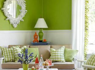 ,客厅,灯具,墙面,田园,绿色,白色,