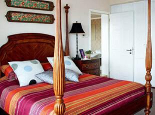 ,卧室,新古典,红色,原木色,
