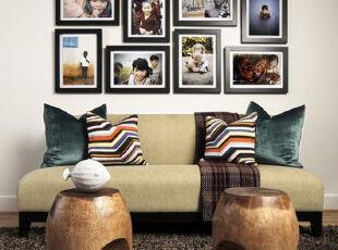 ,客厅,墙面,相片墙,简约,原木色,