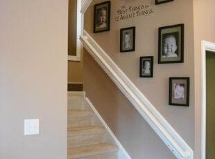 ,楼梯,相片墙,墙面,简约,粉色,