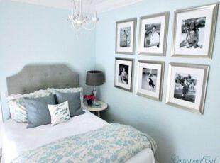 ,卧室,墙面,相片墙,简约,蓝色,