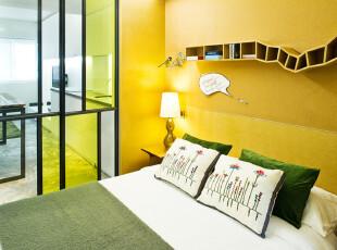 ,卧室,小资,简约,黄色,绿色,
