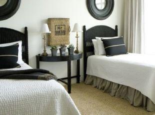 ,卧室,地台,墙面,简约,黑白,