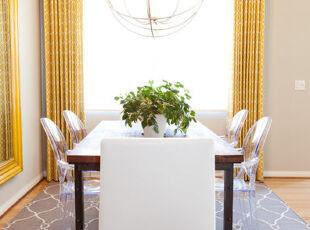 ,餐厅,窗帘,地台,新古典,黄色,紫色,
