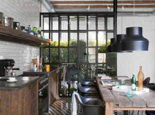 ,厨房,地台,灯具,田园,原木色,黑白,