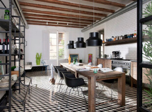,厨房,地台,灯具,田园,黑白,原木色,