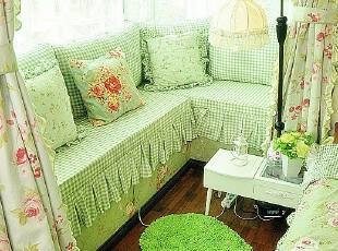 ,飘窗,地台,窗帘,田园,小资,绿色,