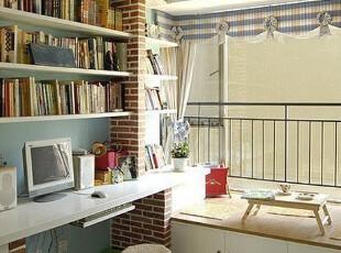 现代日式书房,小清新的风格,地台具有日式榻榻米的味道。,书房,现代,日式,白色,黄色,收纳,窗帘,灯具,地台,