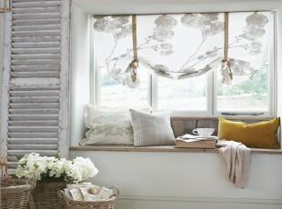 ,飘窗,窗帘,田园,白色,