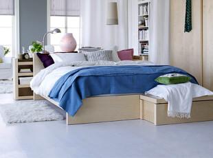 ,卧室,地中海,蓝色,白色,