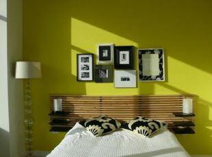 ,卧室,墙面,相片墙,田园,绿色,