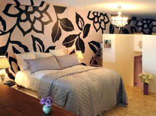,卧室,墙面,田园,黑白,粉色,