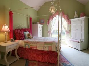 ,卧室,窗帘,欧式,田园,绿色,红色,