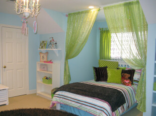 ,卧室,田园,绿色,蓝色,