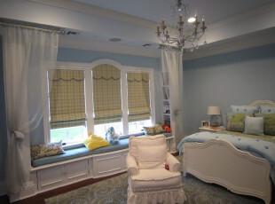 ,卧室,窗帘,欧式,田园,蓝色,